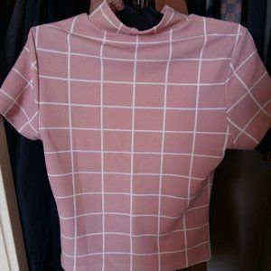 Mock Neck plaid pink top size small
